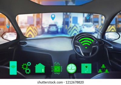 Internal view, Display screen and automatic self driving .Electric smart car technology.