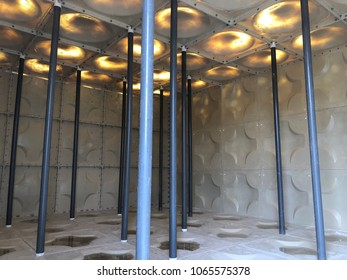 Internal view of FRP water tank structure at site construction