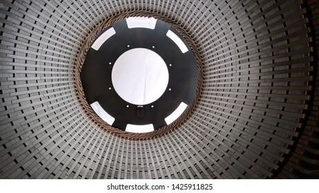 Internal view of a generator, the stator core of a hydropower generator set
