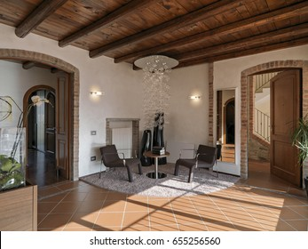 internal view of modern living room with terracotta floor and wood ceiling