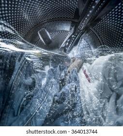 Internal view of a washing machine drum during wash