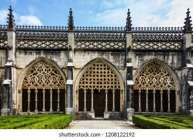 Internal yard of Batalha Dominican medieval monastery, Portugal - great masterpieces of Gothic art. UNESCO World Heritage