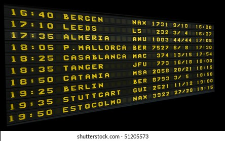 International airport board announcing flight departures