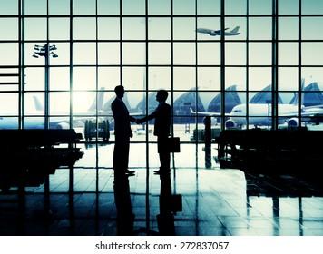International Airport Business Travel Airport Handshake Concept