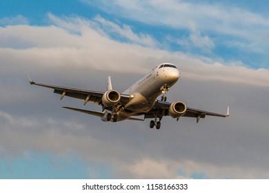 International airport Pardubice, Czech republic, August 11, 2018. Bulgaria Air,  Embraer E190 landing