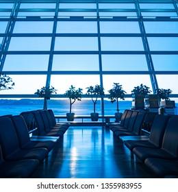 International Airport Terminal in blue tone