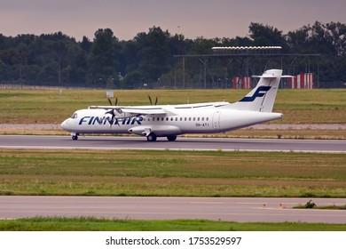 International airport of Vilnius, Vilnius / Lithuania - 2019.07.18: Aircraft: OH-ATI ATR 72-500 Finnair Airways