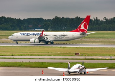 International airport of Vilnius, Vilnius / Lithuania - 2019.07.18: Aircraft: TC-JVK Turkish Airlines Boeing B737-8F2