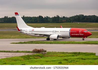 International airport of Vilnius, Vilnius / Lithuania - 2019.07.18: Aircraft: Norwegian Air Shuttle LN-NGX Boeing 737 NG
