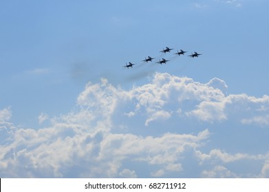 """International Aviation and Space Salon MAKS, Russia, Zhukovskiy, 21 July 2017. """"The Russian Knights"""" aerobatic team is in the air"""