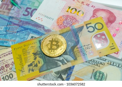 International Banknotes and Crypto currency, Virtual money, Gold Bitcoins