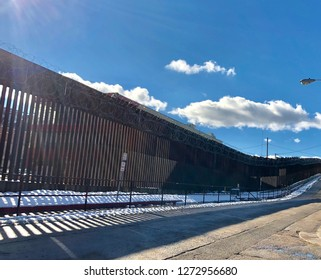 International border fence between the United States and Mexico, in Nogales, Arizona.