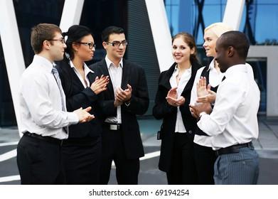 International business team over modern background