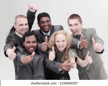 international business team showing thumbs up. the concept of t