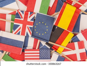 International Business, world flags,little flags of different countries