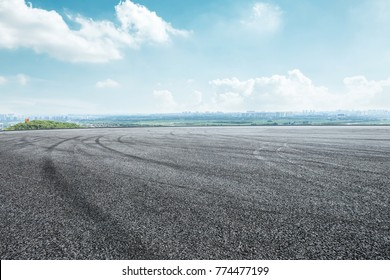 International circuit asphalt road and blue sky nature landscape