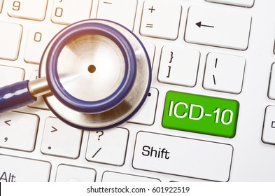 International  Classification of Diseases and Related  Health  Problem 10th Revision or ICD-10 and stethoscope medical on computer keyboard.