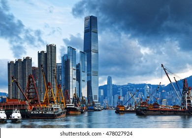 International Commerce Center ICC Building Kowloon Hong Kong Harbor with cargo ship