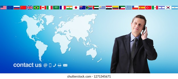 international contact us concept, businessman with mobile phone isolated on world map background, flags icons and contact symbols, web banner and copy space template