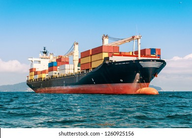 International Container Cargo ship in the ocean, freight transportation