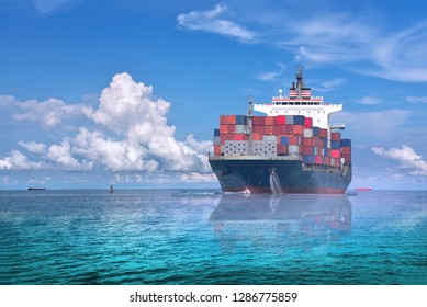 International Container Cargo ship sailing in the Ocean, Freight Transportation, Shipping, Nautical Vessel.