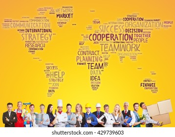 International cooperation and success team with different careers and professions