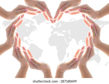 International cooperative day, charity humanitarian aid, friendship and world protection concept with heart collaborative hands