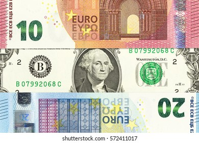 international currencies including euro and us dollar forming background