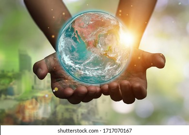 International Day of Forests and earth day concept: Hands holding blue earth globe over and green city background for World Environment Day. Element of the image furnished by NASA