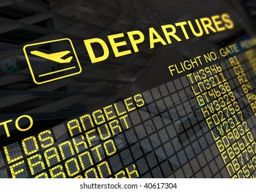 International departures board panel with environment reflection
