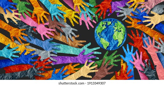 International diversity or earth day and international world culture as a concept of diversity and crowd cooperation symbol as diverse hands holding together the planet earth. - Shutterstock ID 1913349307