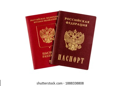 international and domestic russian passport with text in Russian RUSSIAN FEDERATION PASSPORT isolated on a white background top view close up