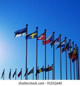 International Flags against blue sky