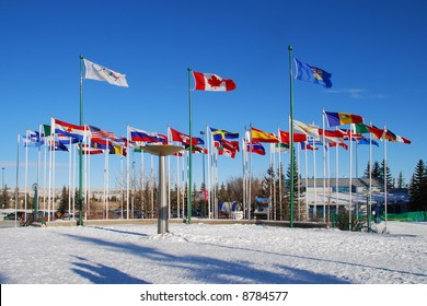 international flags at front of Canada Olympic Park
