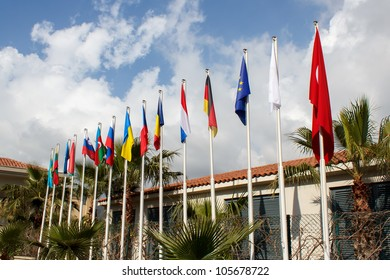 International flags in front of Hotel
