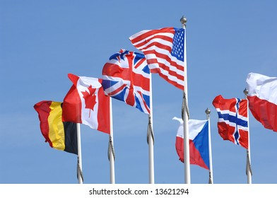 International Flags National flags on display for the countries of the United State, United Kingdom, Canada, Belgium, Czech Republic, Norway and Poland