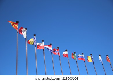 international flags in the wind