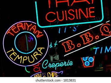 International Food Court Neon Signs
