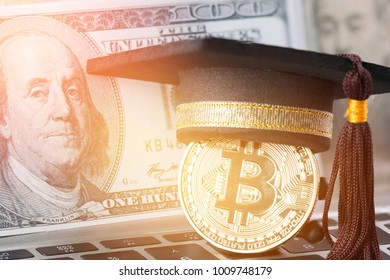 International Graduation cap on Bitcoin Cryptocurrency and Blur foreign money US dollars, JPY money on keyboard. Bitcoin is modern of Exchange Digital payment, Education certificate of Abroad program.