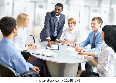 International group of business people working together.