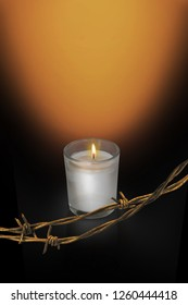 International Holocaust Memorial Day, Yarhtzeit Candle and barbed wire, Remembering Loved One