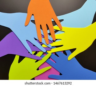 International Human Rights day image for global equality and peace with colorful people hand prints, social diversity concept.
