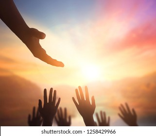 International Human Solidarity Day concept: helping hand concept and international day of peace