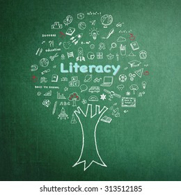 International literacy day concept with Tree of knowledge and education on green chalkboard
