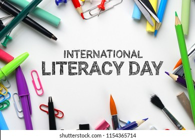 International Literacy Day. School Stationary Top View
