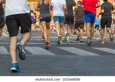 International Marathon Running Race, People Feet on City Road