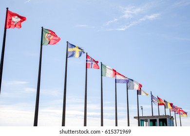 For an international meeting all flags of all countries fleet