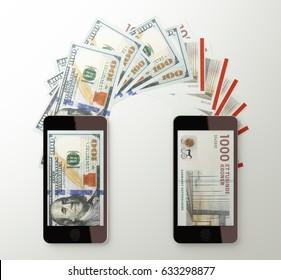 International mobile money transfer with smart phone. American dollar to Denmark kroner. 3d rendered illustration.