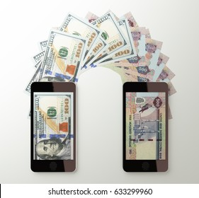International mobile money transfer with smart phone. American dollar to United Arab Emirates dirham. 3d rendered illustration.