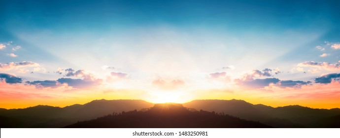 International Mountain Day concept: beautiful sky sunset clouds landscape